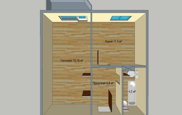 1 комнатная квартира в 7 этажном доме