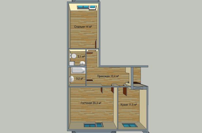 2 комнатная квартира в 7 этажном доме