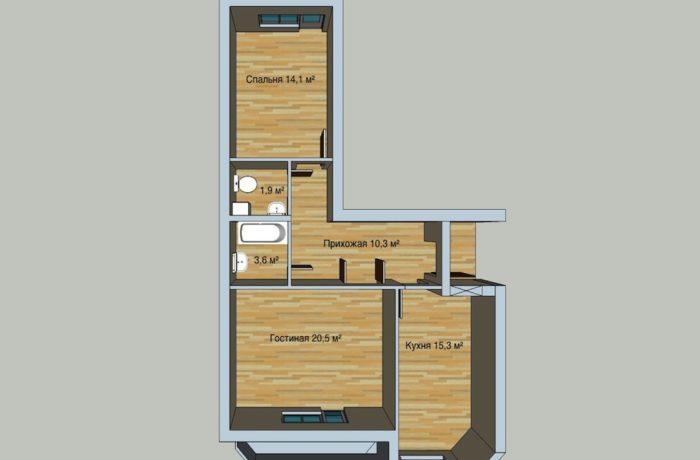 2 комнатная квартира в 9 этажном доме